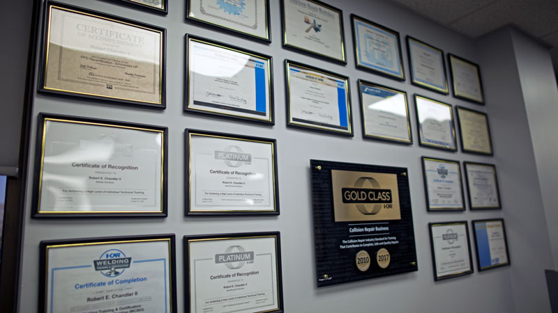 chandlers collision center certifications